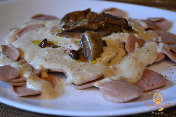 Strascinate al Primitivo con crema di parmigiano e funghi