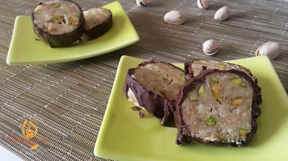 Salame di cioccolato bianco e pistacchi